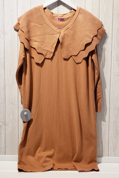 Frilled Collar Knit Dress
