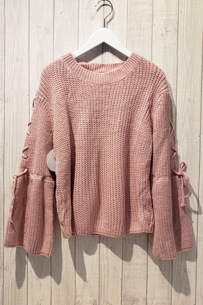 Drawstring Sleeve Knit Top