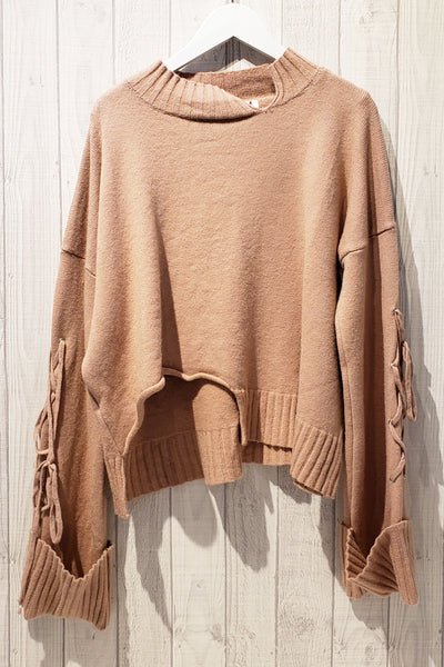 Drawstring Extended Sleeve Knit Top