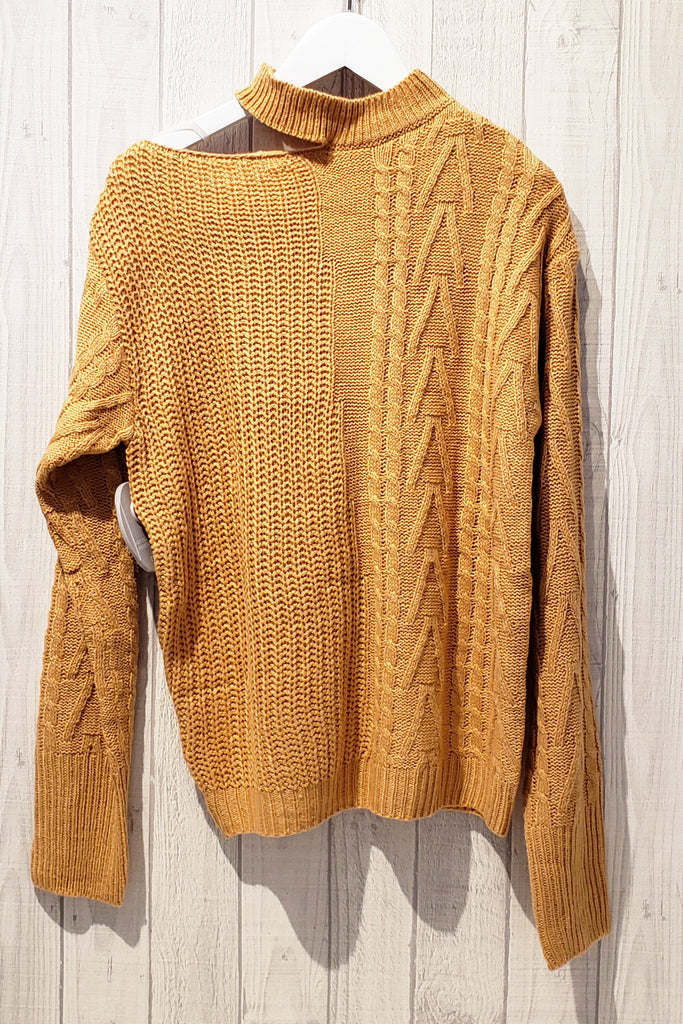 Asymmetrical Neckline Long Sleeve Knitted Top