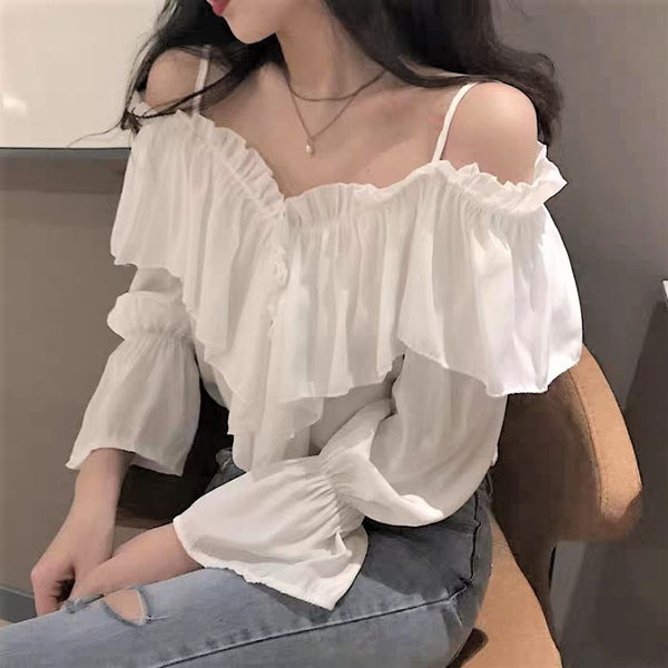 Off-shoulder Strap Ruffle Blouse