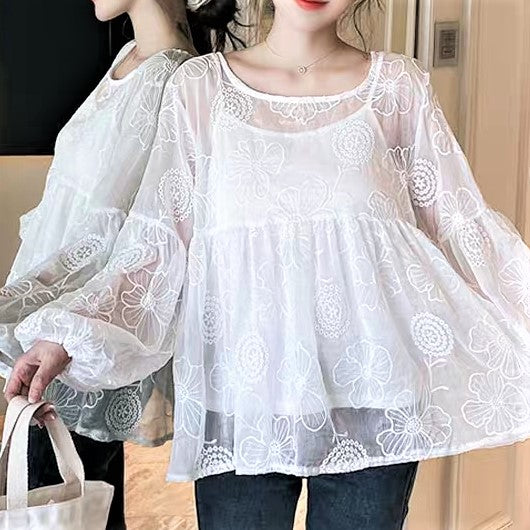 Gigot Sleeve Floral Embroidered Sheer Lace Blouse