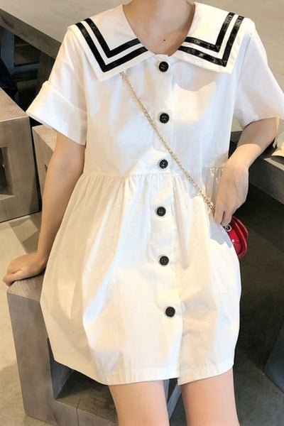Sailor Collar Buttoned Front White Dress