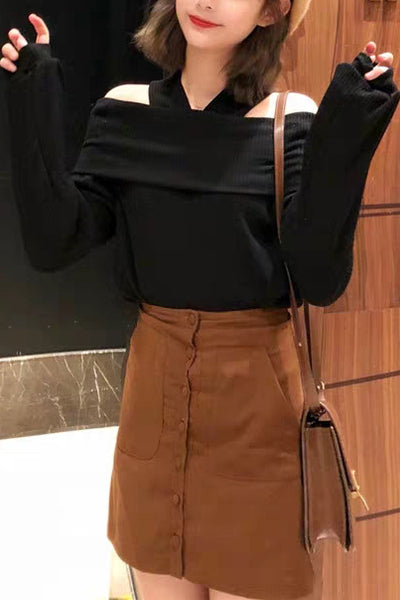Open-shoulder Knit Top
