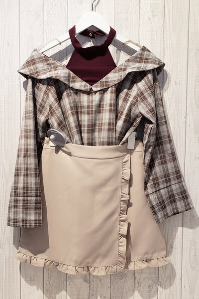 Faux Layered Checked Print Top