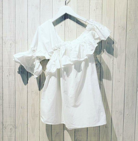 One Shoulder Ruffle Short Sleeve Blouse