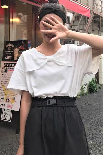 Front-Bow Short Sleeve Top