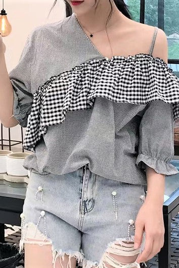 Asymmetrical Check Printed One Shoulder Blouse