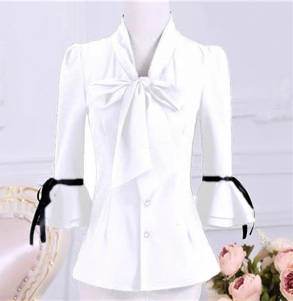 Gigot Sleeve Self-Tie Bow Blouse