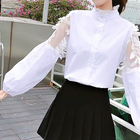 Lace-Up Front Sheer Lace Sleeve Shirt