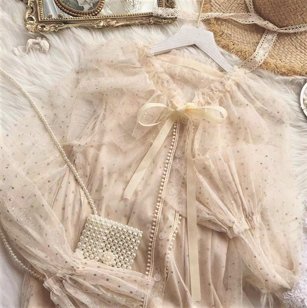 Gigot Sleeve Sequin Sheer Lace Blouse