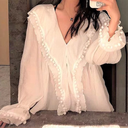 Gigot Sleeve Tiered Frill Ruffle Blouse