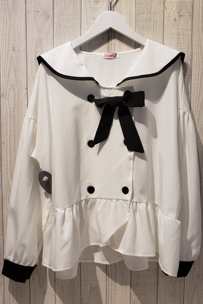 Sailor Collar Self-Tie Bow Blouse