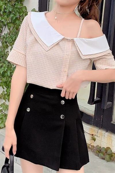 Frilled Collar One Shoulder Checked Blouse