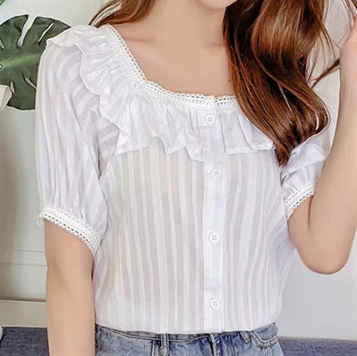 Lace Trim Collar Short Sleeve Blouse