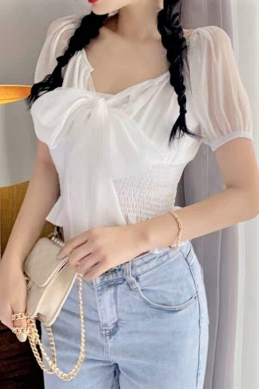Sheer Off-shoulder Short Sleeve Blouse