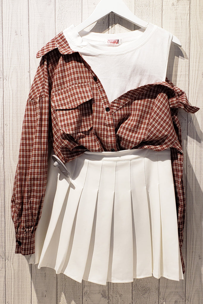 Faux Layered Open-shoulder Blouse