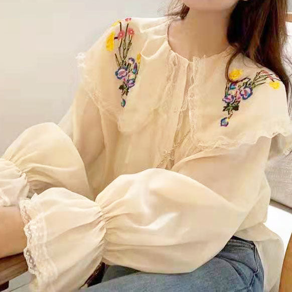 Floral Embroidered Gigot Sleeve Blouse