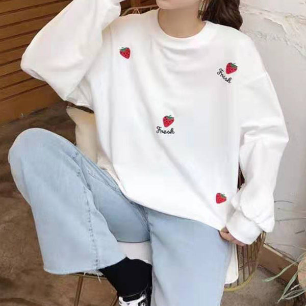 Graphic Embroidered Long Sleeve Sweatshirt