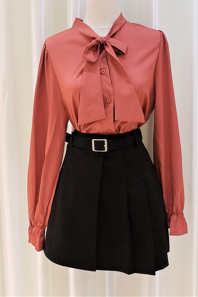 Self-Tie Bow Buttoned Front Blouse