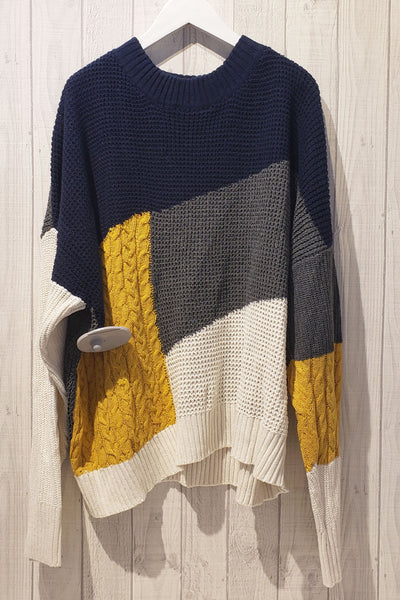 Oversized Color-Blocked Sweater