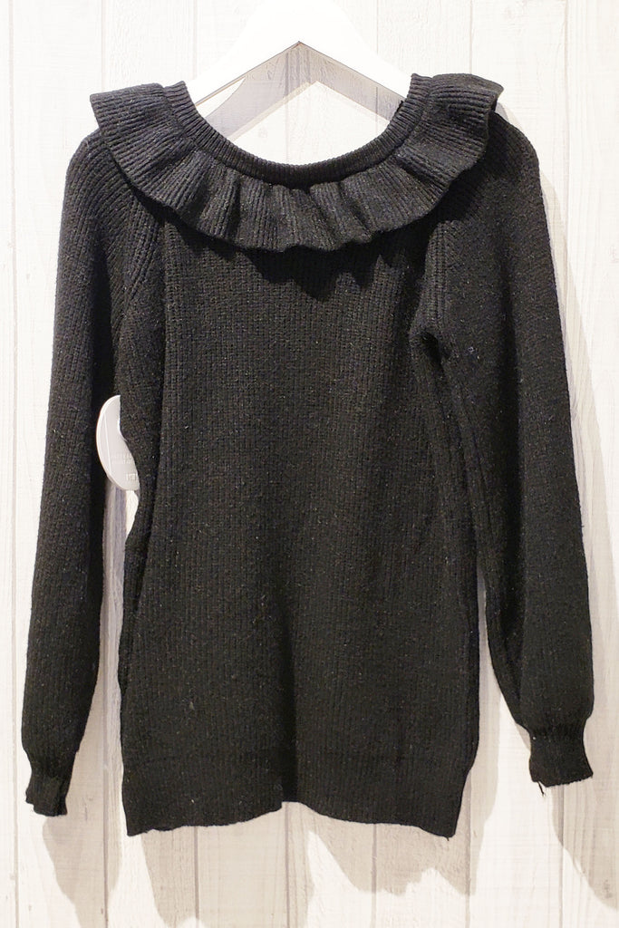 Frilled Trim Off-shoulder Knitted Sweater
