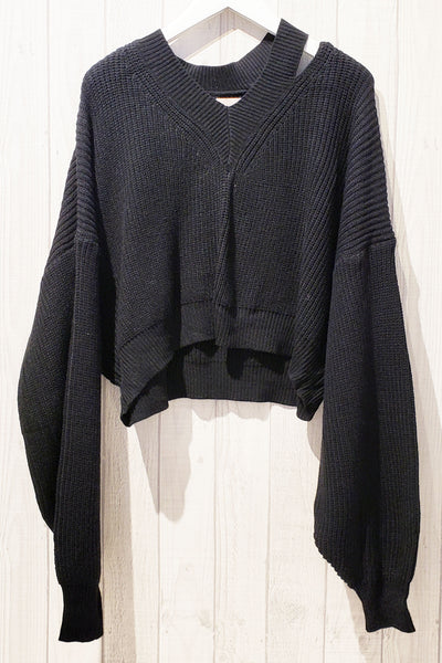 Asymmetrical Neckline Ribbed Knit Sweater