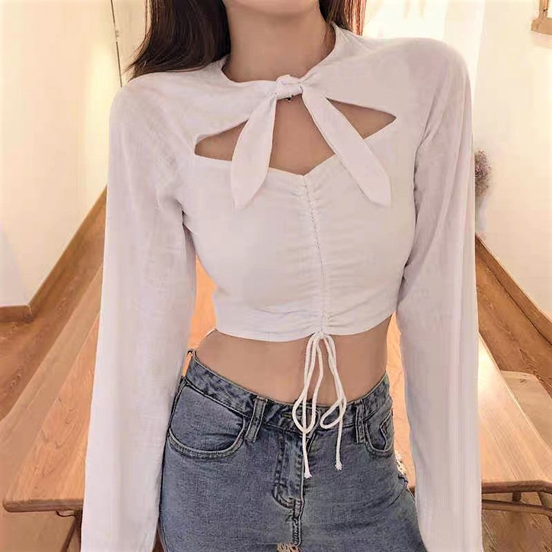 Drawstring Waist Self-Tie Bow Cropped Top