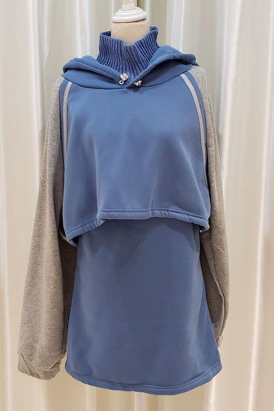 Hooded Color-Blocked Top and Dress Set