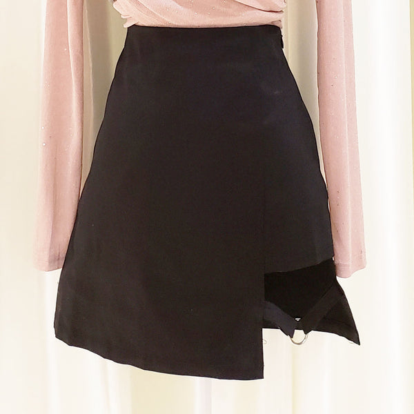 Asymmetrical Front Buckled Mini Skirt