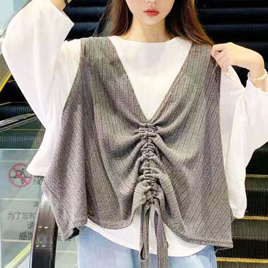 Losse Fit Knitted Top and Vest Set