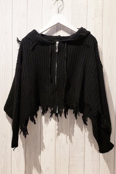 Fringe Trim Hooded Top