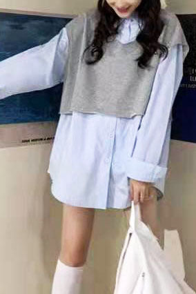 Faux Layered Long Sleeve Shirt