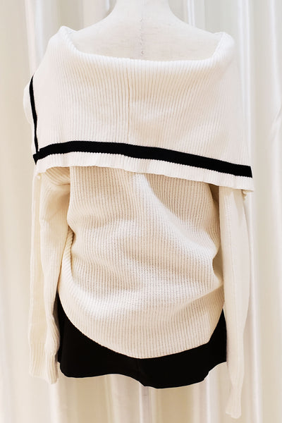 Stripe Trim Open-shoulder Top