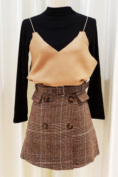 Belted Long Sleeve Top and Vest Set