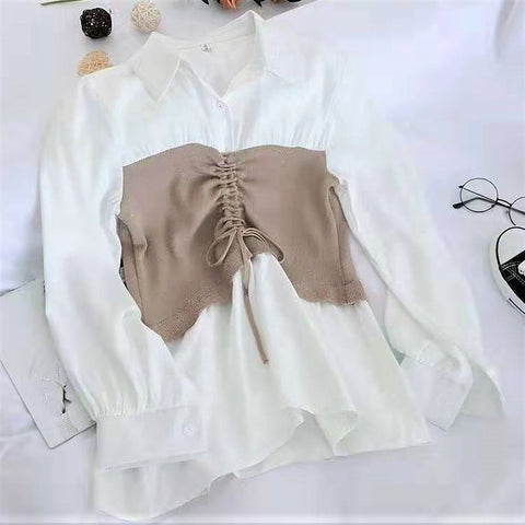 Drawstring Fake Two Piece Blouse