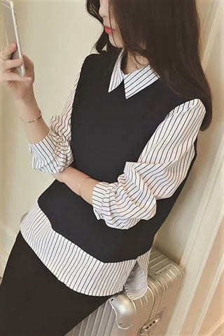 Frilled Collar Faux Layered Stripe Print Shirt
