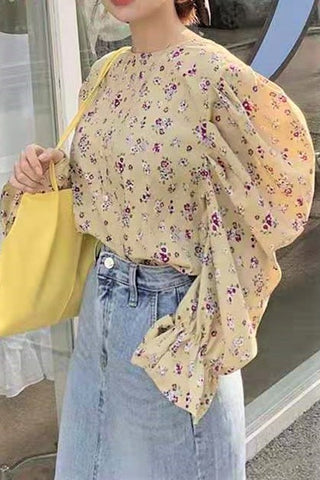 Floral Print Bishop Sleeve Blouse