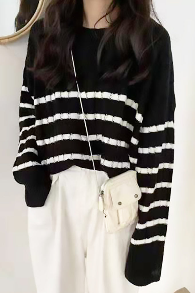 Stripe Trim Cable Knit Sweater