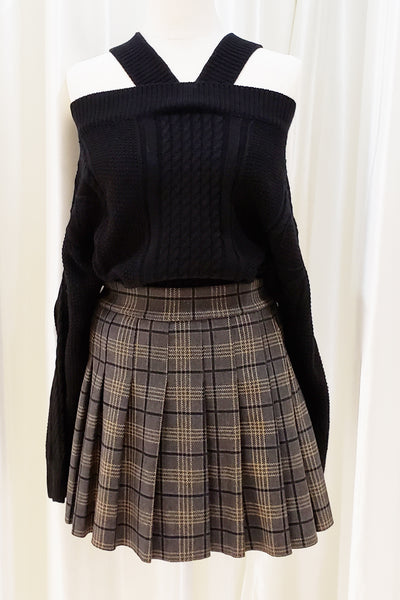 Pleated Check Printed Mini Skirt