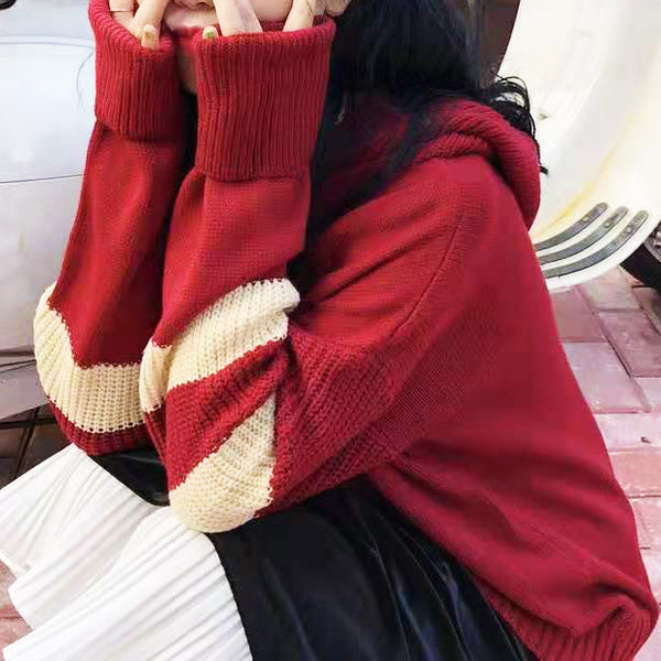Hooded Ribbed Knit Top