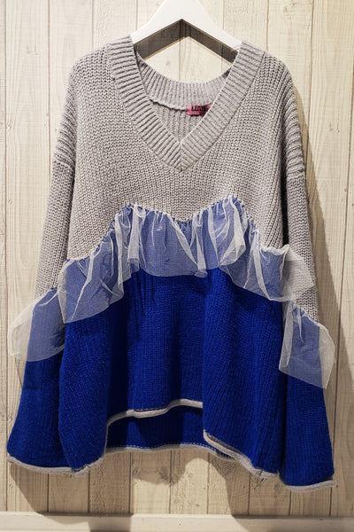 Color-Blocked Lace Trim V neck Sweater
