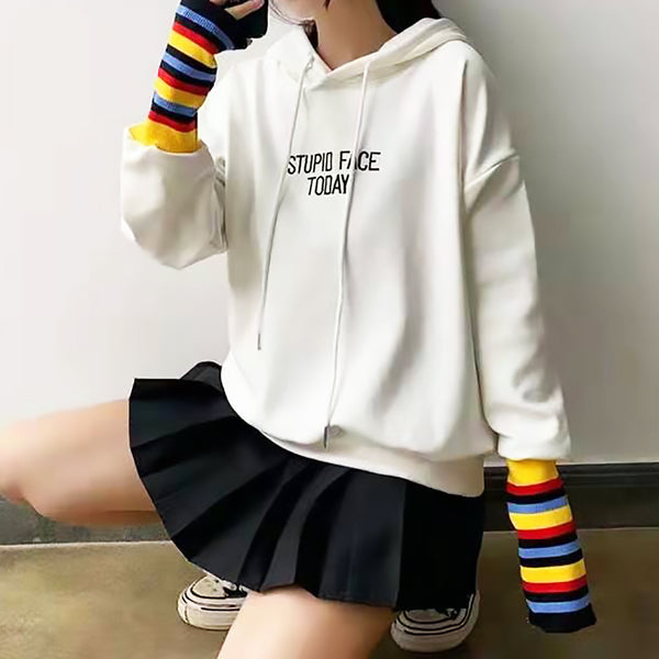 Graphic Embroidered Lettering Print Extended Sleeve Hoodie