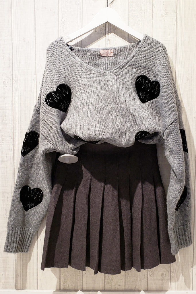 Graphic Embroidered Puff Sleeve Oversized Sweater