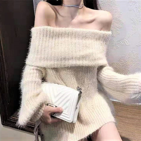 Fluffy Off-shoulder Sweater