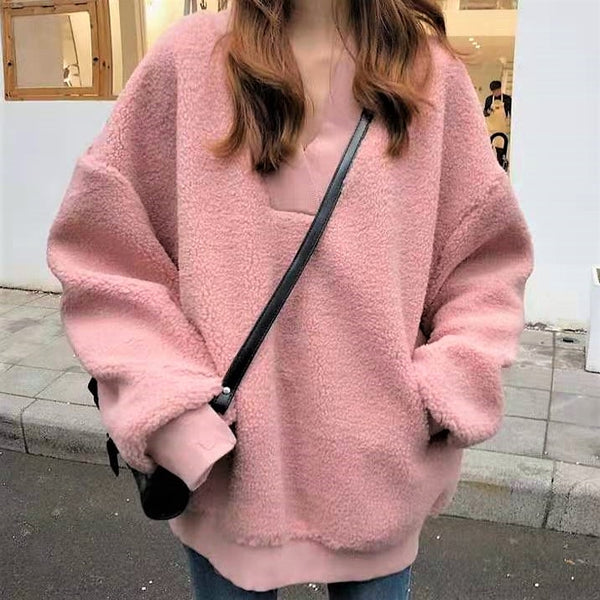 Cropped Fleece V neck Sweatshirt