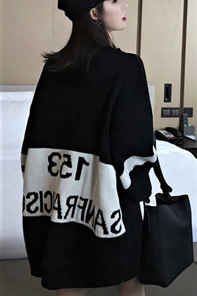 Lettering Print Oversized Sweater