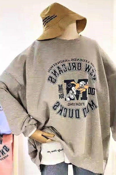 Cartoon Print Long Sleeve Sweatshirt