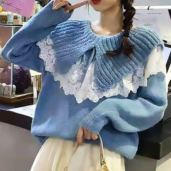 Lace Trim Frilled Collar Knitted Blouse