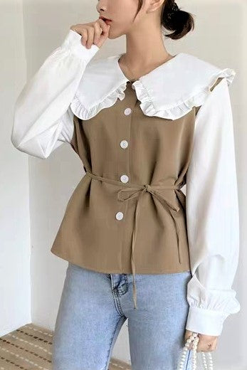 Frilled Middy Collar Buttoned Front Self-Tie Belt Blouse